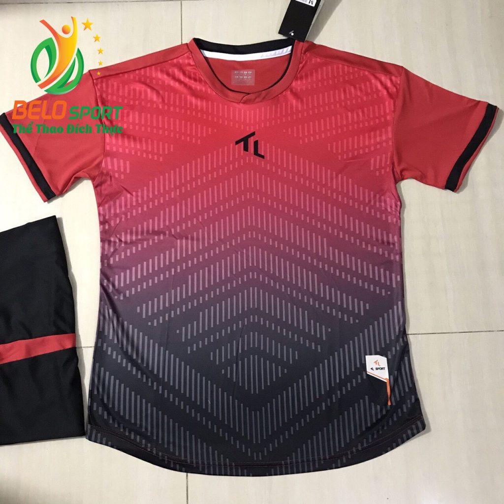 Áo bóng đá không lô gô K-011 2019 giá rẻ màu đỏ pha đen