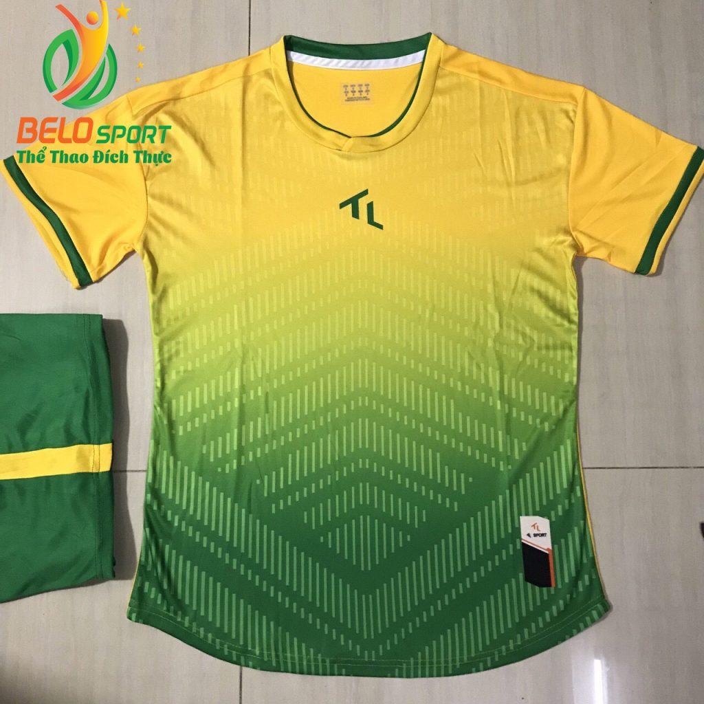 Áo bóng đá không lô gô K-012 2019 giá rẻ màu vàng pha xanh