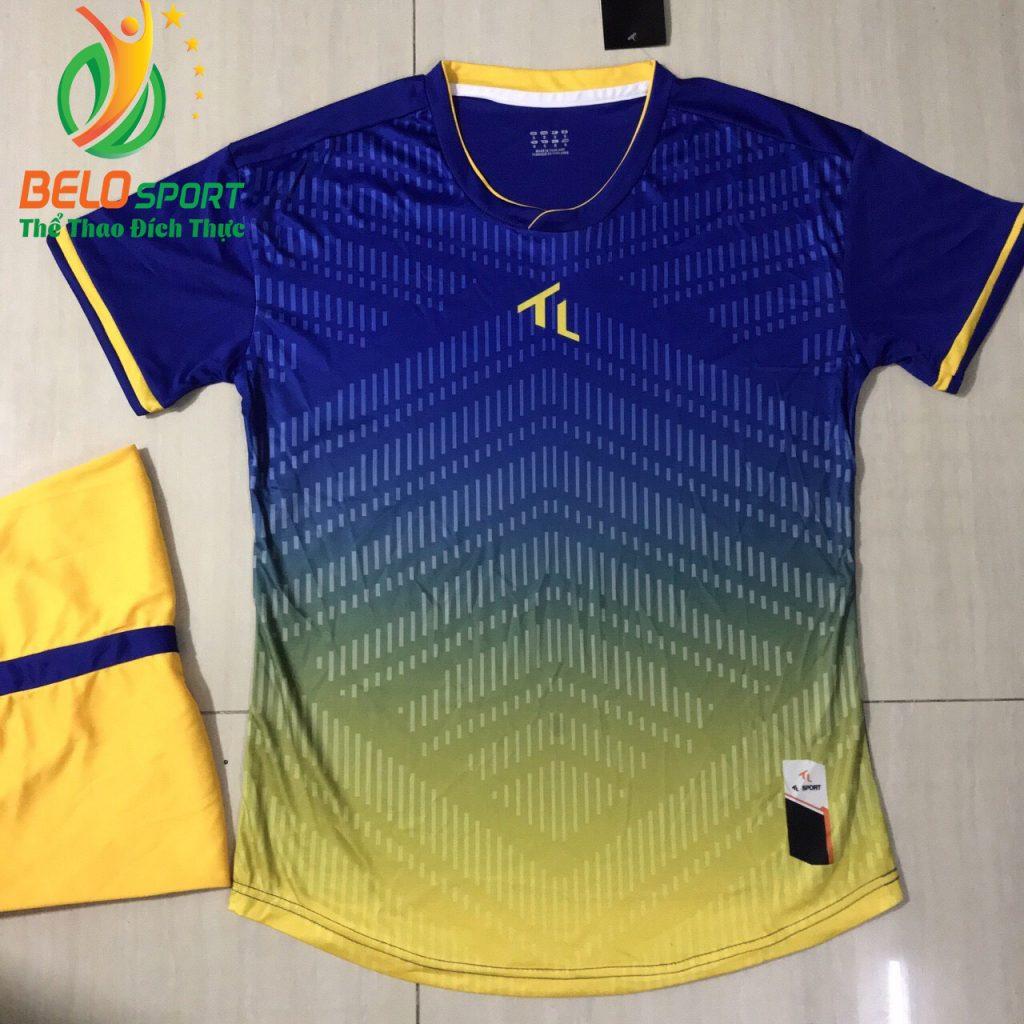 Áo bóng đá không lô gô K-013 2019 giá rẻ màu xanh pha vàng