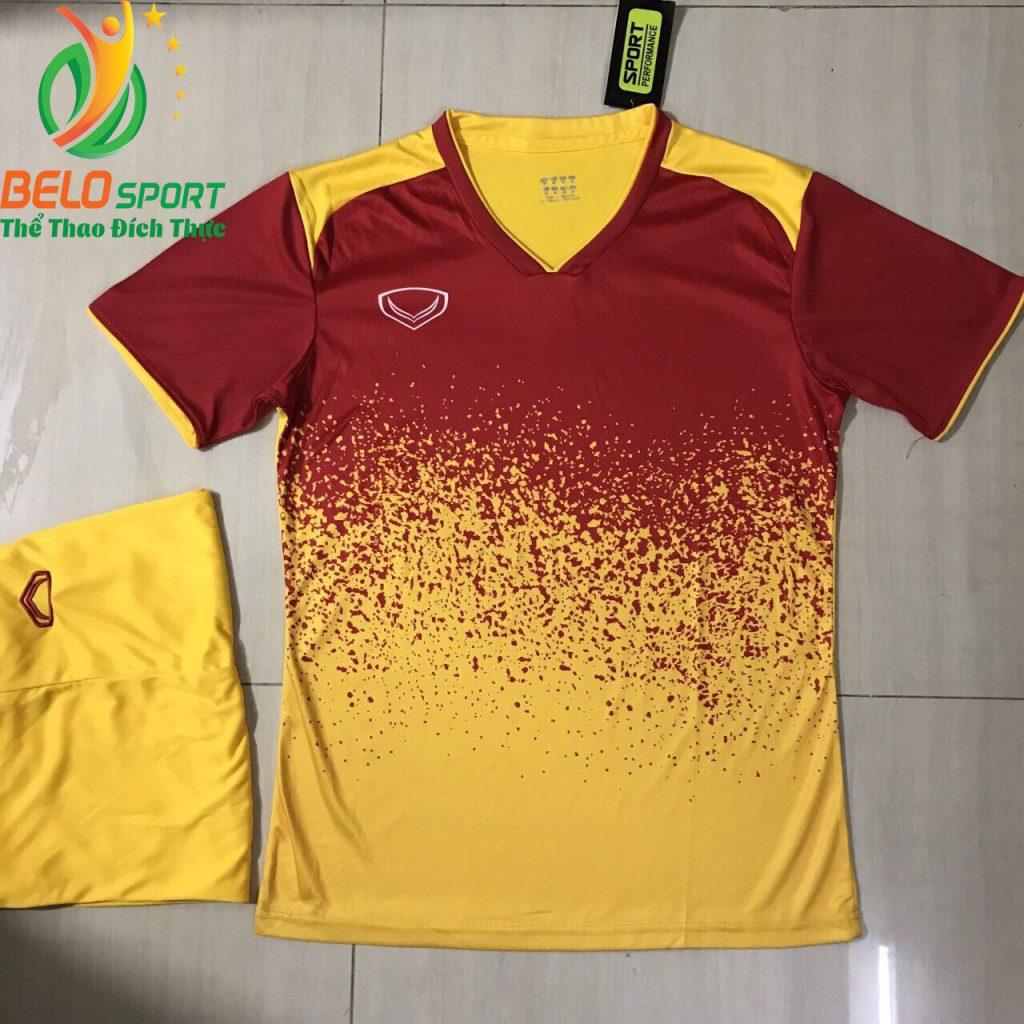 Áo bóng đá không lô gô K-020 2019 giá rẻ màu đỏ pha vàng
