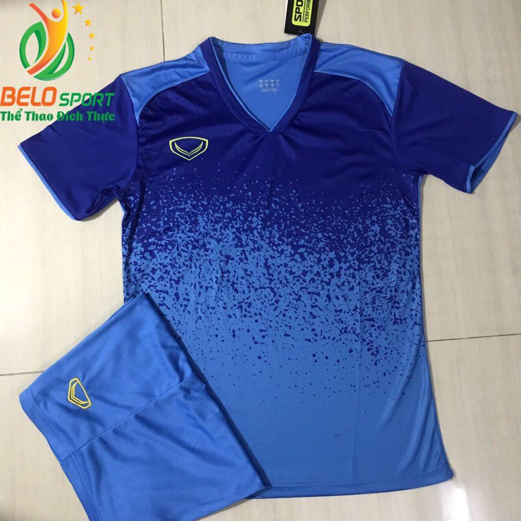 Áo bóng đá không lô gô K-021 2019 giá rẻ màu xanh đậm pha xanh ngọc