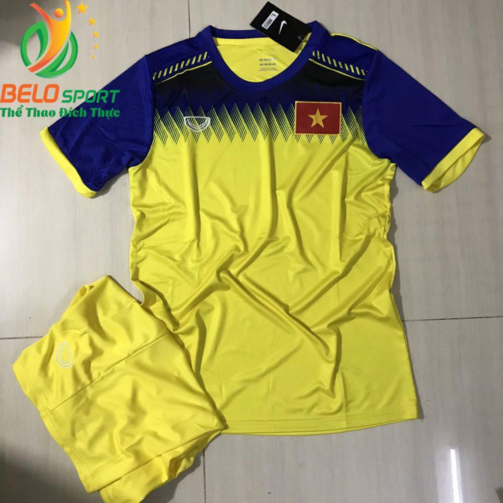 Áo bóng đá đội Tuyển Việt Nam 2019 độc quyền thiết kế màu xanh pha vàng