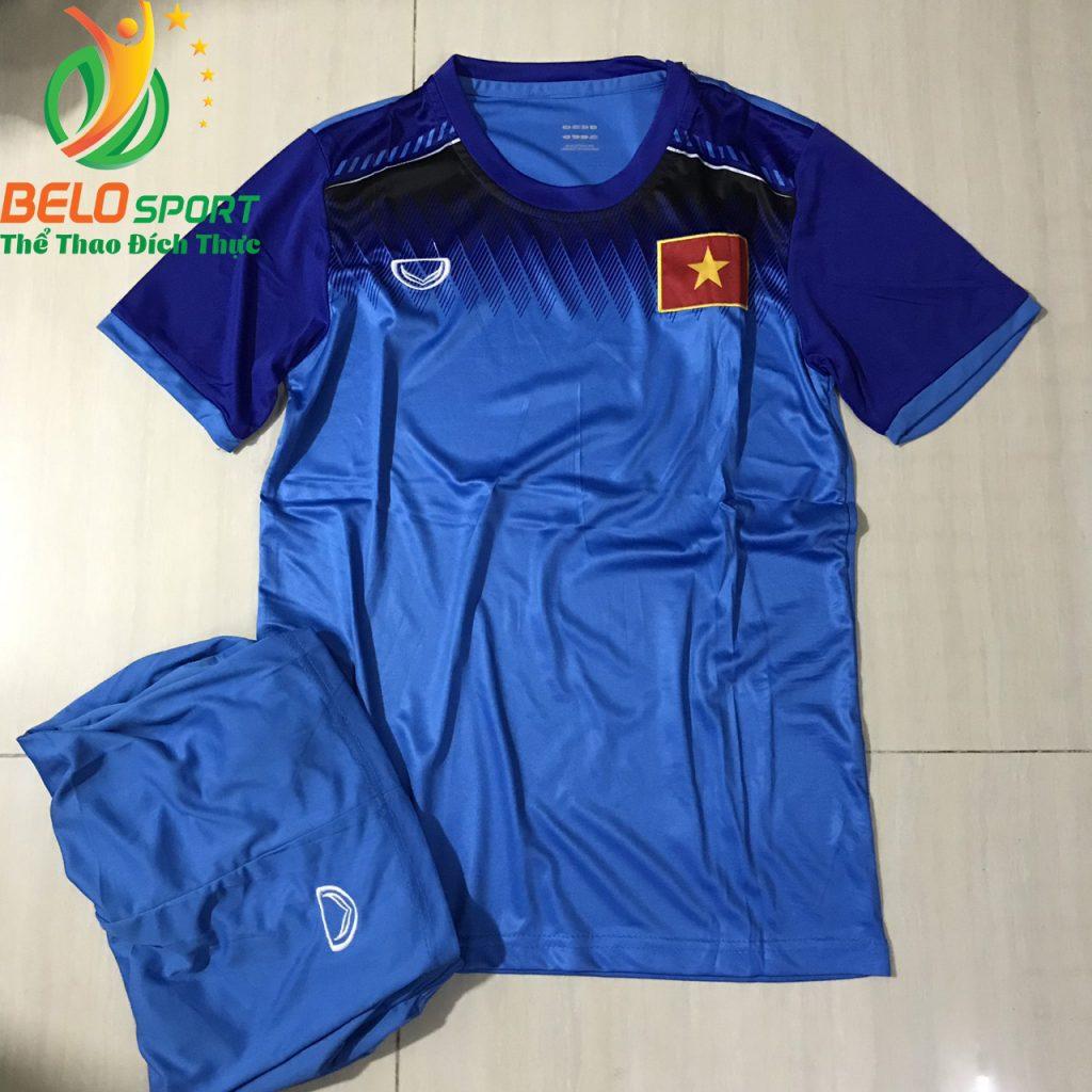 Áo bóng đá đội Tuyển Việt Nam 2019 độc quyền thiết kế màu xanh đậm pha xanh ngoc