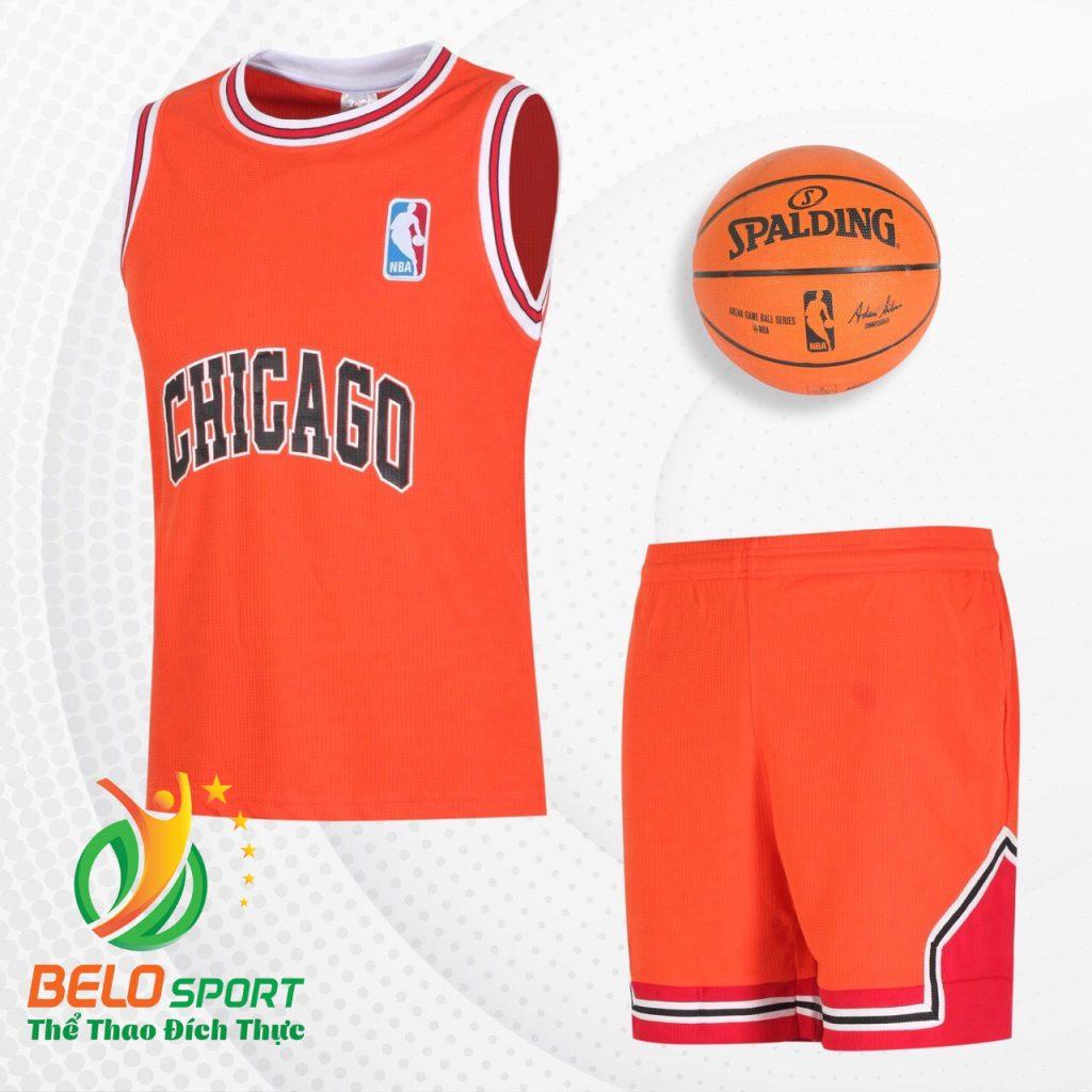 Bộ quần áo bóng rổ Bulls 2019 màu xanh cam