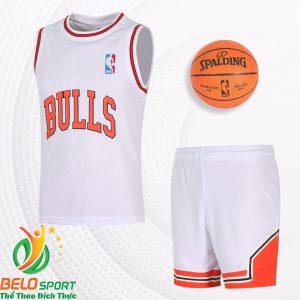 Bộ quần áo bóng rổ Bulls 2019 màu trắng