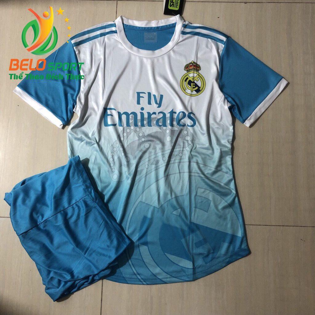 Áo bóng đá Real Mandrid 2019-2020 màu trắng pha xanh