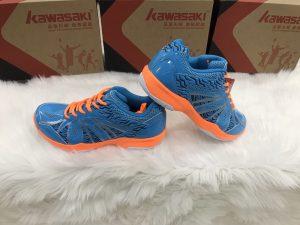 Giày bóng chuyền, cầu lông Kawasaki K076 màu xanh đế cam chính hãng