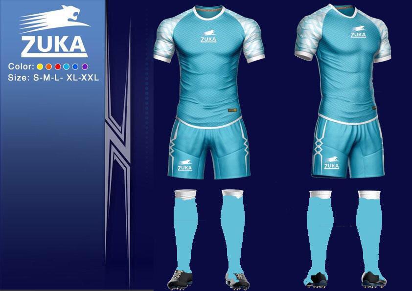 Áo bóng đá Zuka 1 màu xanh trắng chính hãng độc quyền phân phối Belo