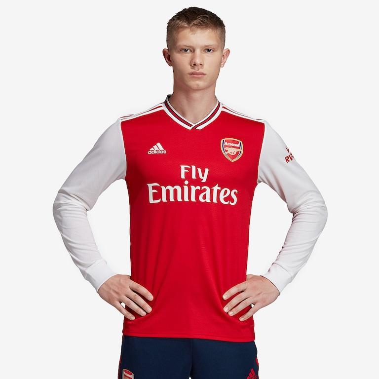 Áo bóng đá dài tay CLB Arsenal màu đỏ trắng mua giải 2019-2020