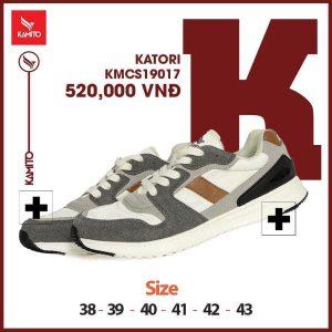 Giày chạy bộ Kamito Katori KMRS 19017 chính hãng màu trắng xám