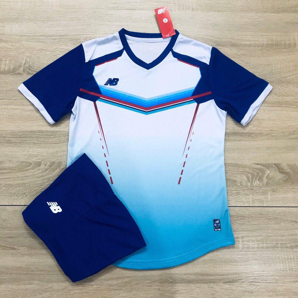 Áo bóng đá không logo NB v2 màu xanh trắng độc quyền Belo Sport