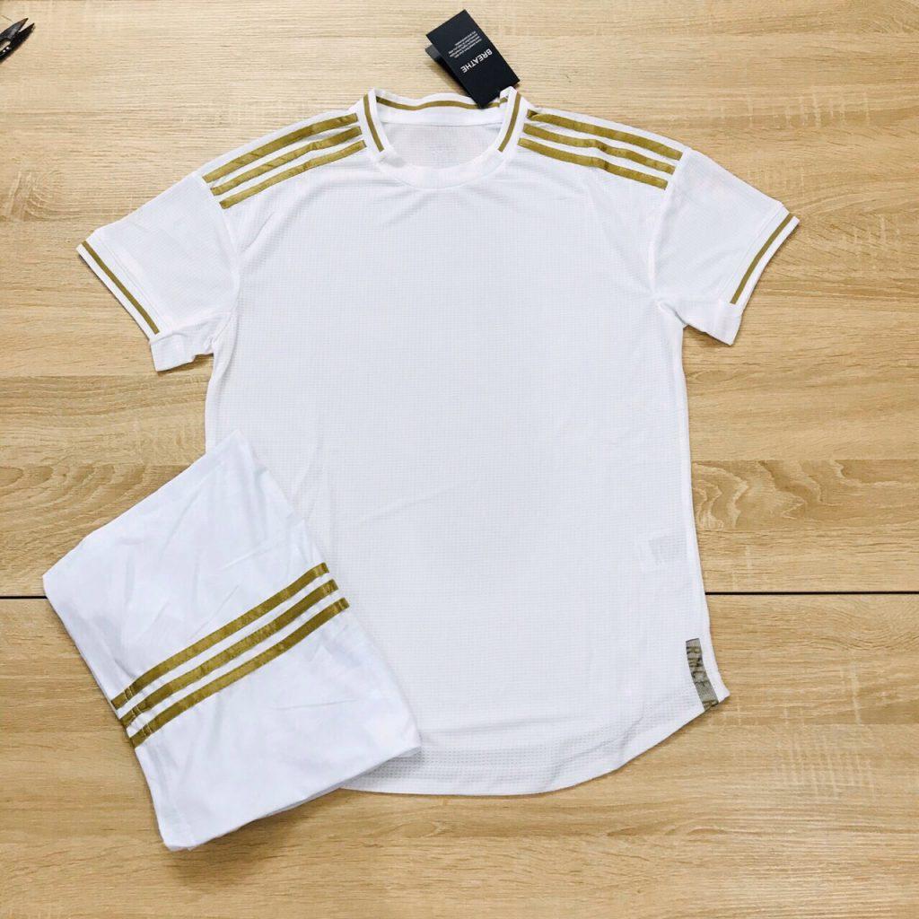 Áo bóng đá không logo mô phỏng áo CLB màu trắng