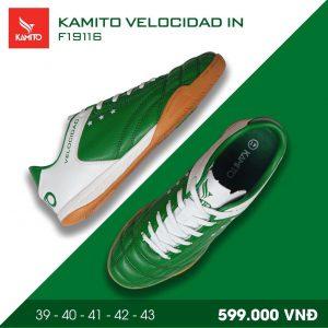 Giày bóng đá Kamito velocidad IN màu xanh lá đế cam chính hãng