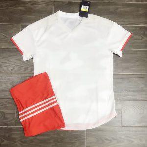 Áo bóng đá không logo mô phỏng áo CLB màu trắng cam