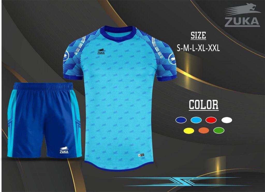 Áo bóng đá không logo zuka màu xanh da trời 2019-2020