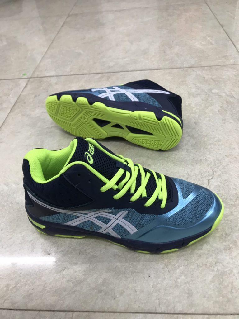 Giày bóng chuyền cầu lông Asics màu xanh lá cây chính hãng