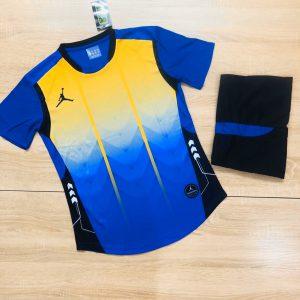 Áo bóng đá không logo BL màu xanh dương vàng năm 2020