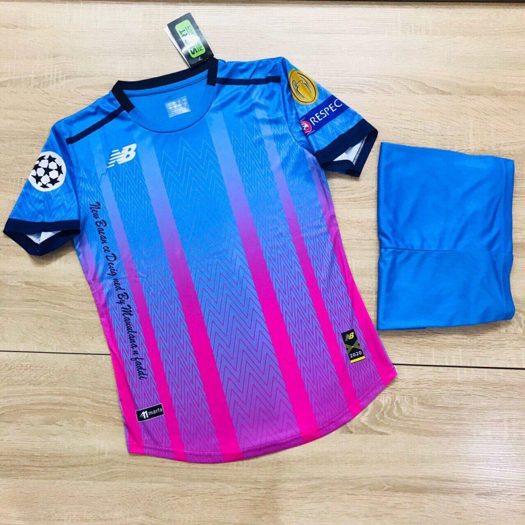 Áo bóng đá không logo NB4 màu xanh hồng năm 2020