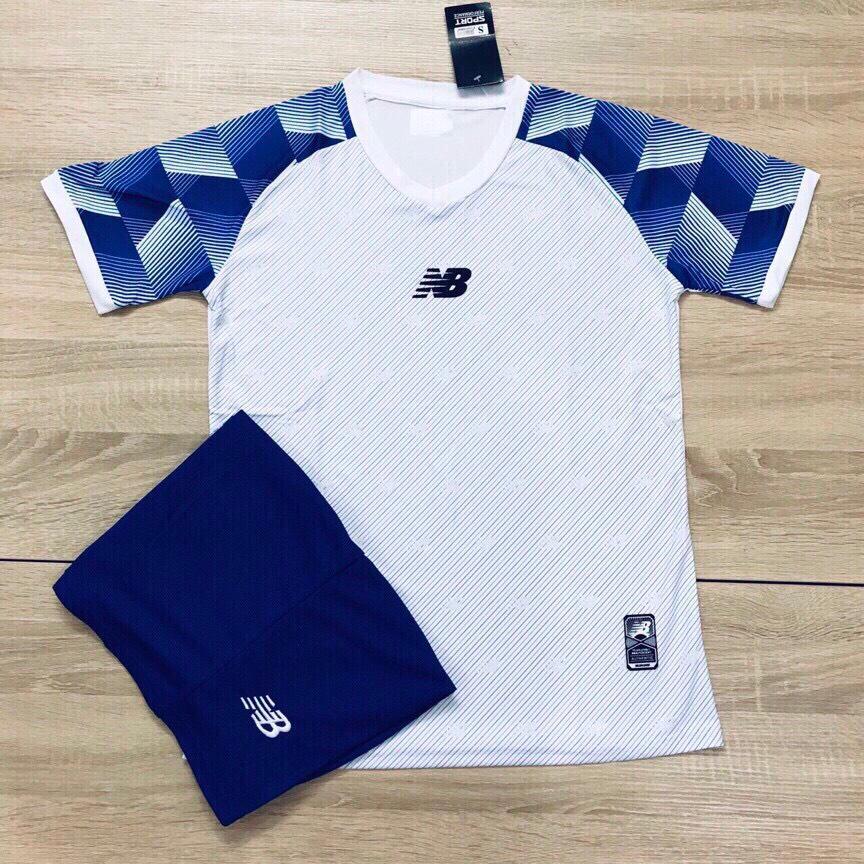 Áo bóng đá không logo NB1 màu trắng xanh dương