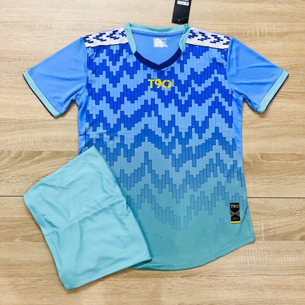 Áo bóng đá không logo T90 màu xanh da trời