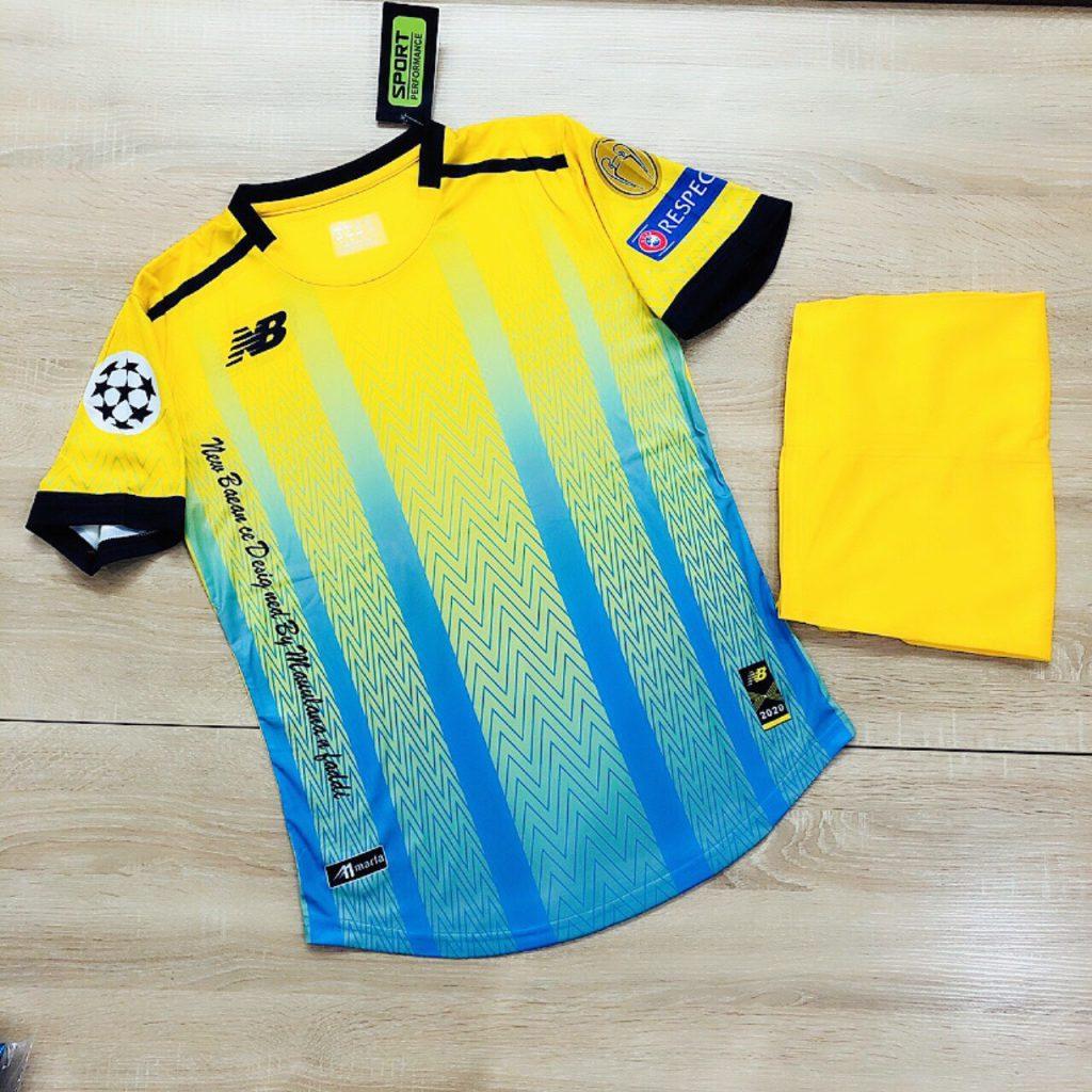 Áo bóng đá không logo NB4 năm 2020 màu vàng