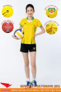 Áo bóng chuyền nữ Hiwing Volverine H3 màu vàng