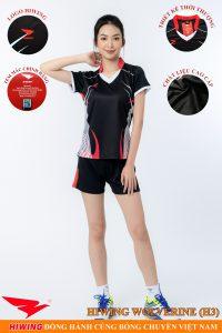 Áo bóng chuyền nữ Hiwing Volverine H3 màu đen