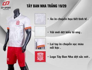 Áo bóng đá CP đội tuyển Tây Ban Nha màu trắng năm 2020