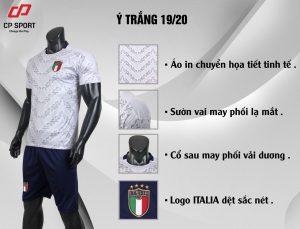 Áo bóng đá CP đội tuyển Italia màu trắng năm 2020