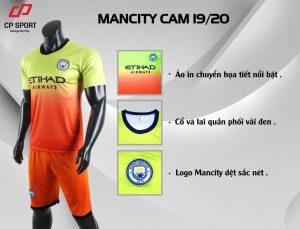 Áo bóng đá CP CLB Man City màu cam vàng năm 2020