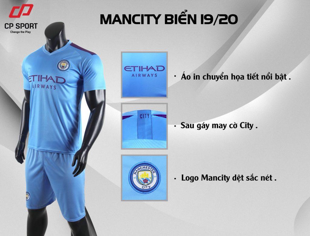 Áo bóng đá CP CLB Man City màu xanh da trời năm 2020