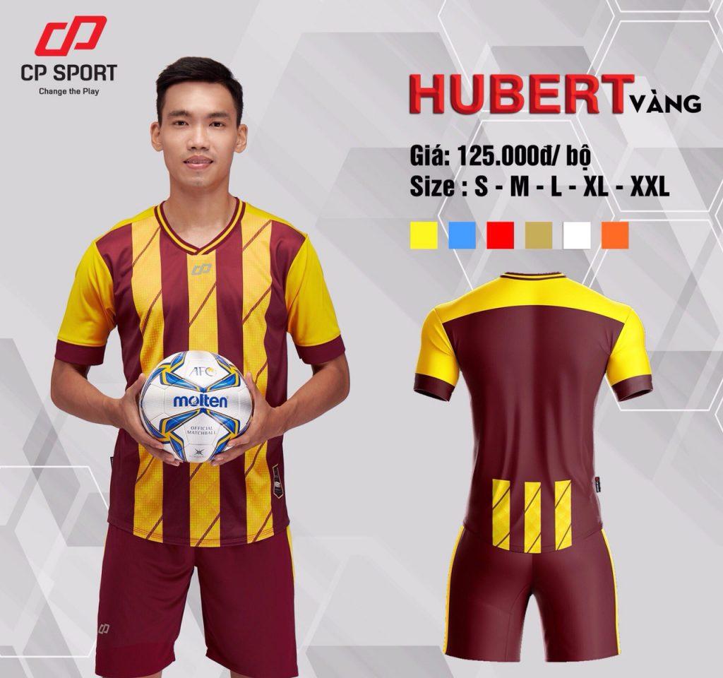 Áo bóng đá CP Hubert màu vàng sọc đỏ năm 2020