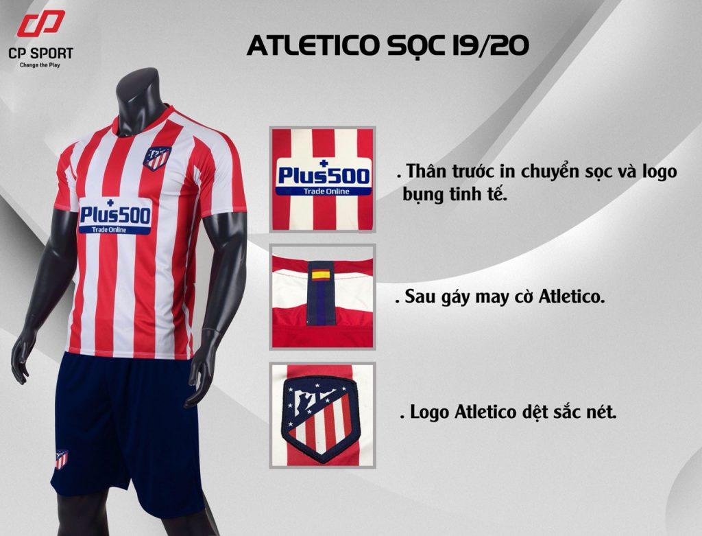 Áo bóng đá CP CLB Atletico Madrid màu đỏ sọc trắng năm 2020
