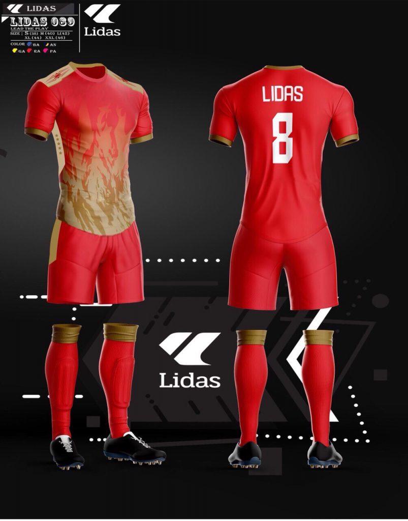 Áo bóng đá không logo Lidas màu đỏ năm 2020