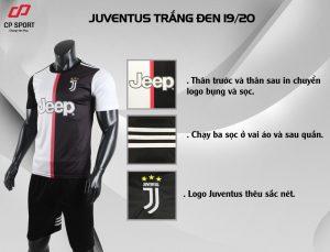 Áo bóng đá CP CLB Juventus màu đen trắng năm 2020