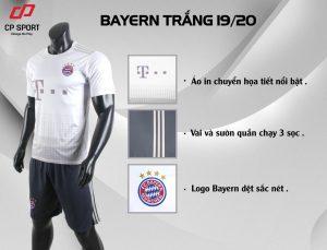 Áo bóng đá CP CLB Bayern Muchen màu trắng năm 2020