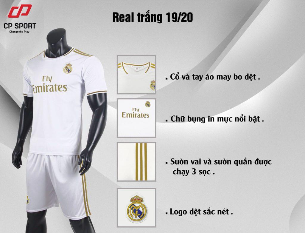 Áo bóng đá CP CLB Real Madrid màu trắng năm 2020