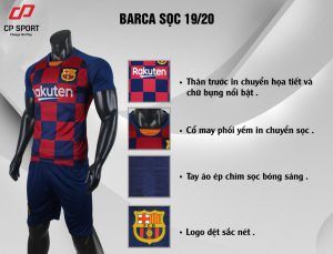Áo bóng đá CP CLB Barca màu đỏ xanh năm 2020