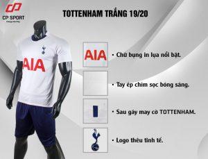 Áo bóng đá CP CLB Tottenham màu trắng năm 2020