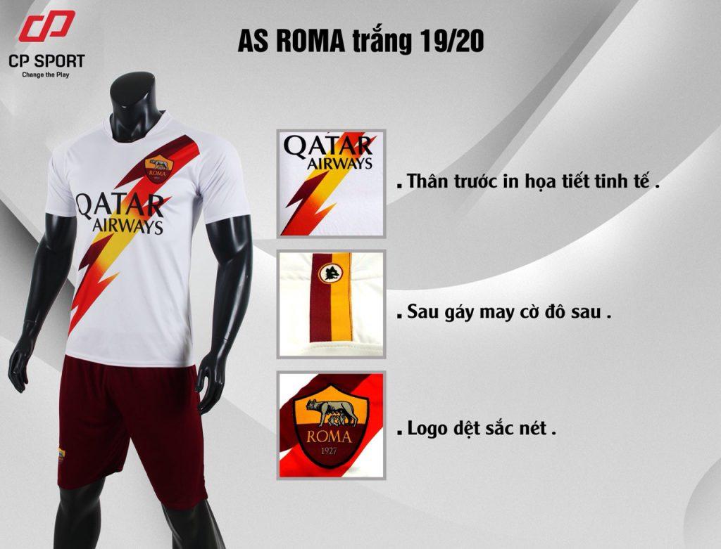 Áo bóng đá CP CLB AS Roma màu trắng năm 2020