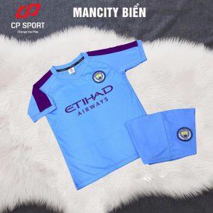 Áo bóng đá trẻ em CP CLB Mancity màu xanh biển năm 2020