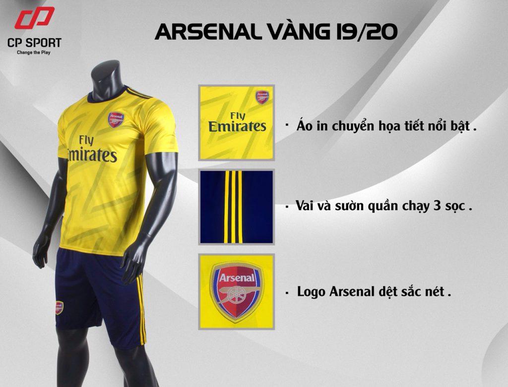 Áo bóng đá CP CLB Arsenal màu vàng năm 2020