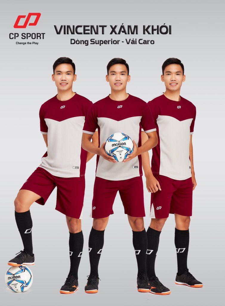 Áo bóng đá CP Vincent màu xám phối đỏ năm 2020