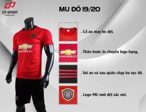 Áo bóng đá CP CLB Man United màu đỏ năm 2020