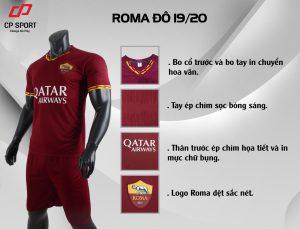 Áo bóng đá CP CLB AS Roma màu đỏ năm 2020