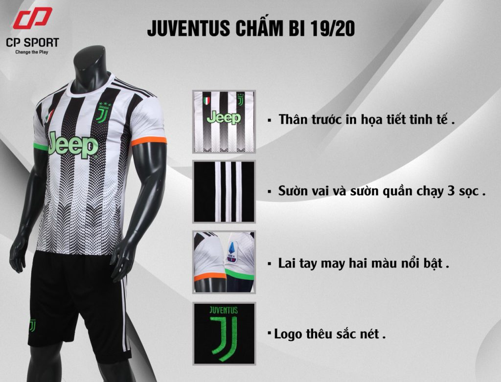 Áo bóng đá CP CLB Juventus màu trắng sọc đen năm 2020