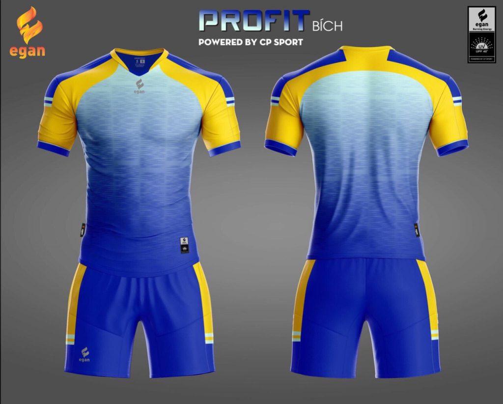 Áo bóng đá Egan Proifit màu xanh dương phối vàng năm 2020