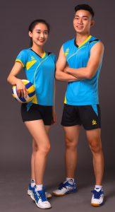 Áo bóng chuyền nam nữ K3 màu xanh da trời năm 2020
