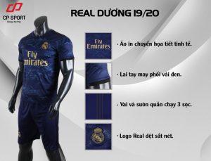 Áo bóng đá CP CLB Real Madrid màu tím than năm 2020
