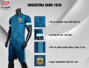 Áo bóng đá CP đội tuyển Argentina màu xanh năm 2020